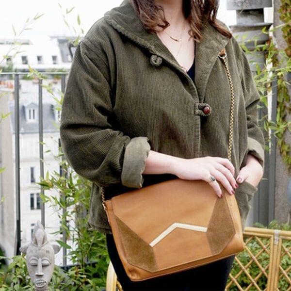 Grand sac à bandoulière en cuir et daim ELIOR