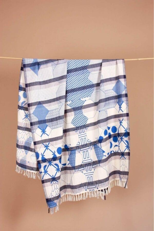 Fouta Miroir Bleu
